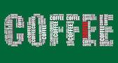 Kaffee typografie 3d text wortkunst vector kaffee abbildung wort-wolke — Stockvektor