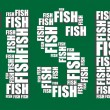 Fish typography 3d text word fish art vector illustration word cloud  — Stock Vector