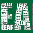Leaf typography 3d text word leaf art vector illustration word cloud  — Stock Vector