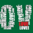 Love typography 3d text word love art vector illustration word cloud  — Stock Vector
