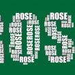 Rose typography 3d text word rose art illustration word cloud — Imagen vectorial