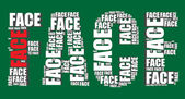 Face typography 3d text word face art vector illustration word cloud — Stock Vector
