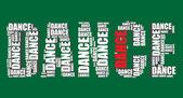 Dance typography 3d text word dance art vector illustration word cloud — Stock Vector