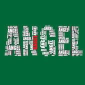 Angel typography 3d text word angel art — Stock Vector