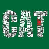 Cat typography 3d text word cat art — Stock Vector