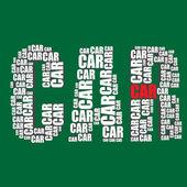 Car typography 3d text word car art — Stock Vector