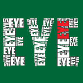 Eye typography 3d text word eye art — Stock Vector