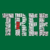 Tree typography 3d text word tree art illustration word cloud — Stock Vector