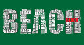 Beach typography 3d text word beach art illustration word cloud — Stock Vector