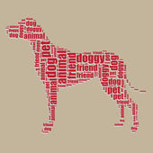 Dog typography 3d text word art dog vector illustration word cloud — Stock Vector