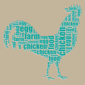 Chicken typography 3d text word art chicken vector illustration word cloud — Stock Vector