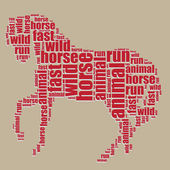 Horse typography 3d text word art horse vector illustration word cloud — Stock Vector