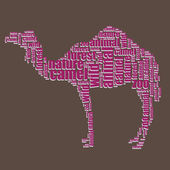 Camel typography 3d text word art camel vector illustration word cloud — Stock Vector