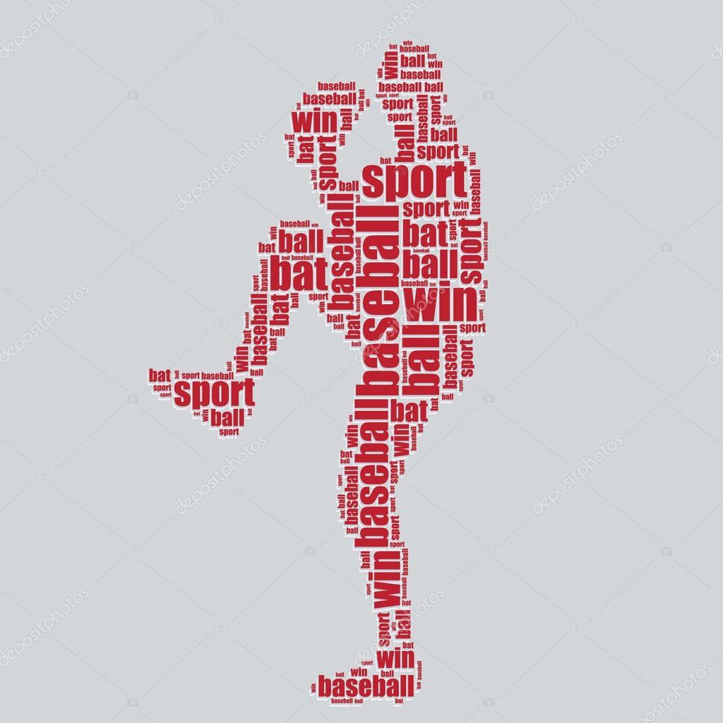 baseball typography 3d text word art baseball vector illustration word cloud stock vector