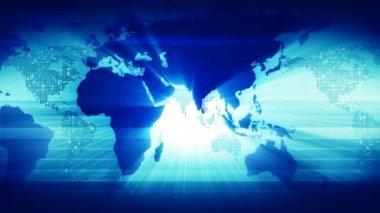 Dünya haritası. mavi renkte. — Stok video