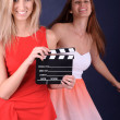 Women with film slate — Stock Photo