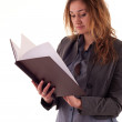 Young woman holding book — Stock Photo
