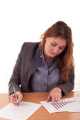 Businesswoman working on office documents — Foto Stock