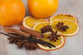 Spices and orange — Stock Photo