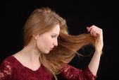 Longhaired blonde woman — Stock Photo