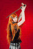 Redhead with sword — Stock Photo
