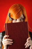 Woman with book — Stockfoto