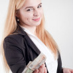 Businesswoman with money — Stock Photo #51252889