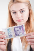 Woman holds old Mark banknote — Stock Photo