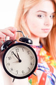 Girl Holding Clock — Stock Photo
