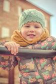 Smiling beautiful girl in pastel colors — Foto de Stock
