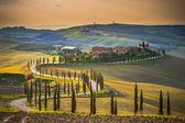 Tuscany serpentine road between sunny field. — Stock Photo