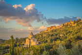 Montepulciano town in Tuscany at sunset, Italy — Stock Photo