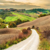 Wellenförmige Frühling Felder in der Toskana, Italien. — Stockfoto