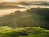 Tuscan fields wrapped in mist, Italy — Stock fotografie