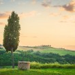 Tuscan landscape of cypress and a well — Stock Photo #47067549