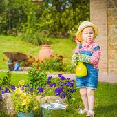 Little helper on the green the grass on a summer day — Zdjęcie stockowe
