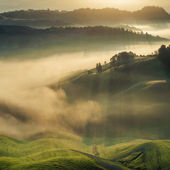 Tuscan fields wrapped in mist, Italy — Stock Photo