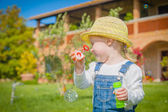 Girl with bubbles on green summer the grass — Stock Photo
