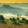 Tuscan house on the misty hills — Stock Photo #48796475