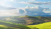 Tuscan landscape with clouds and green fields, Italy — Stockfoto