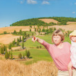 Family on holiday in Tuscany, mother and daughter are watching t — Stock Photo #51322881