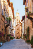 The old town and the streets of the medieval period Pienza, Ital — Stock Photo