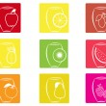 un conjunto de iconos de fruta 2 — Vector de stock