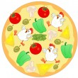 Chicken pizza ingredients — Stock Vector