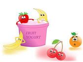 Fruit yogurt — Stock Vector
