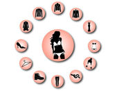 Woman clothes icons 2 — Stock Vector