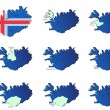 Iceland provinces maps — Stock Vector