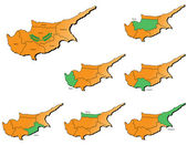 Cyprus provinces maps — Stock Vector