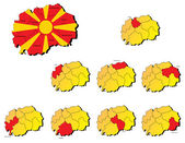 Macedonia provinces maps — Stock Vector