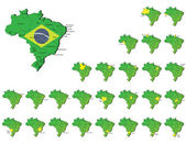 Brazil provinces maps — Stock Vector